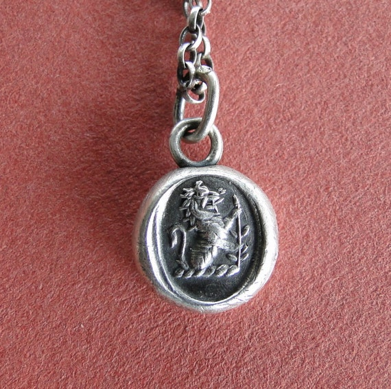 valiant, Antique wax letter seal, Sterling silver, Lion emblem of courage,