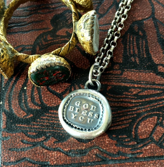 God Bless You... antique wax letter seal, sterling silver religious amulet, protection, sterling silver wax seal necklace