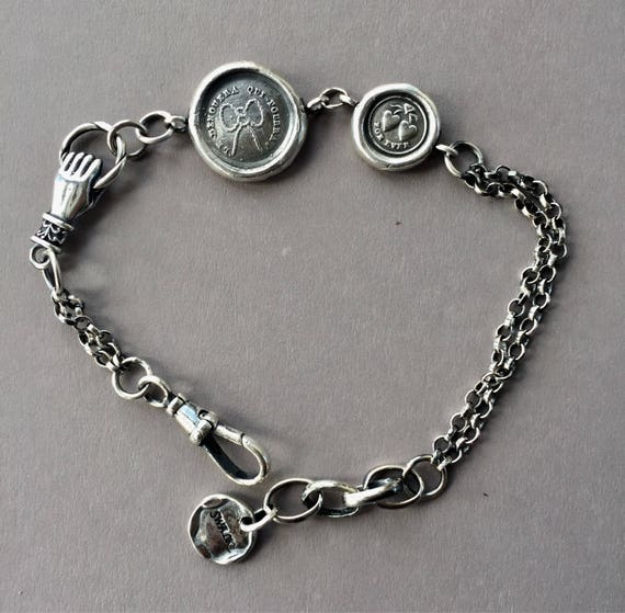Albertina style bracelet, Love strings, love knot bracelet.  Forever hearts, bracelet.  Sterling silver antique bracelet.