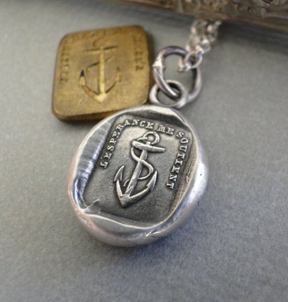 Hope Sustains me…. Sterling silver, antique wax seal impression, handmade, pendant.