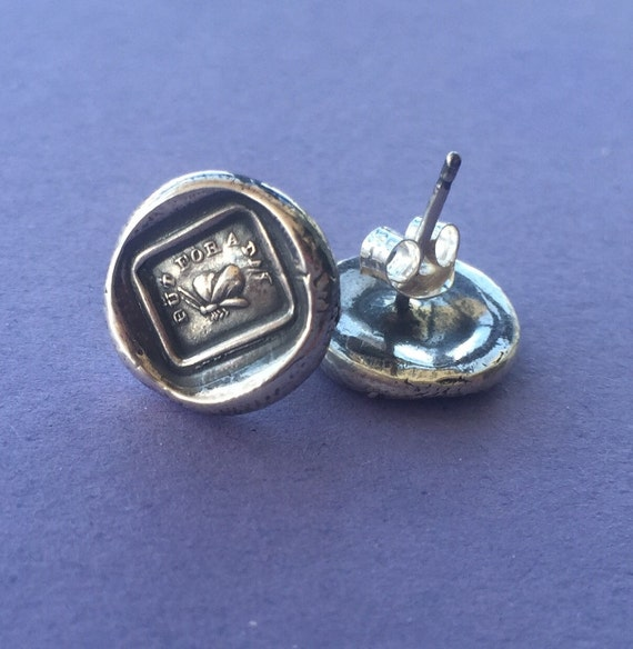 But for a day..... antique wax seal earrings, butterfly, time to shine, sterling silver antique impression