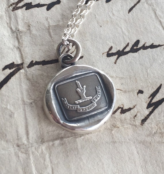 The best things await us in heaven.... Antique wax letter seal impression. Sterling silver.