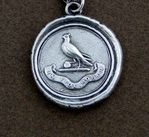 Faith is my Strength..... wax seal jewelry, Sterling silver necklace, religious jewelry, handmade amulet, talisman dove of peace and virtue.