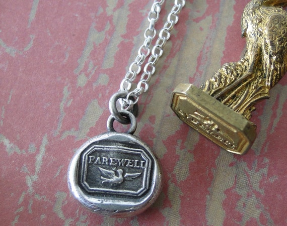 New!!!! Farewell, Swallow, bird, goodbye, sterling silver, antique wax seal