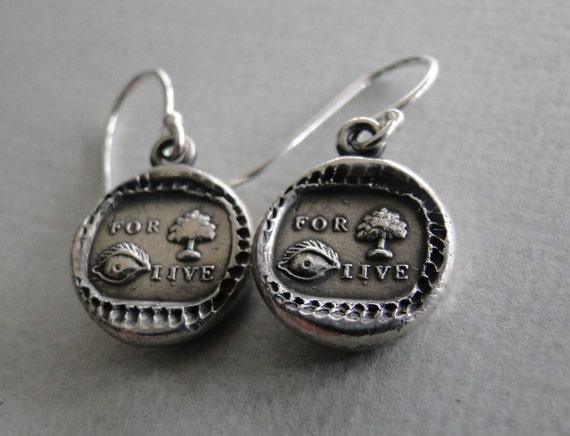 For you I live Earrings.......... wax seal, sterling silver, rebus puzzle, love Earrings.