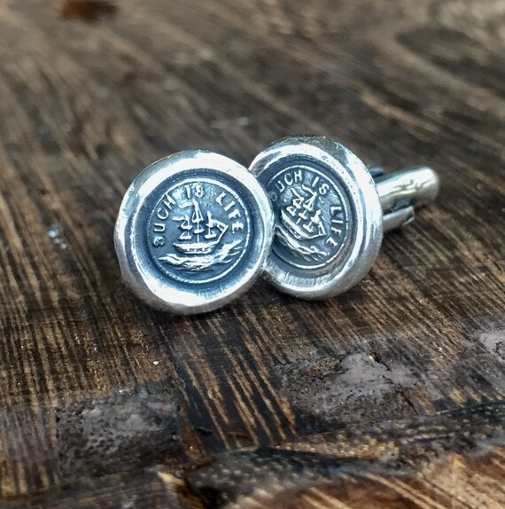Such is life... sterling silver, handmade cufflinks, c'est la vie, ship, nautical, boat