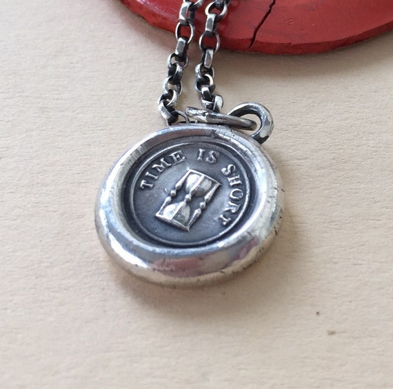 Time is short!  Antique wax letter seal.  Sterling silver,  with or without a chain.