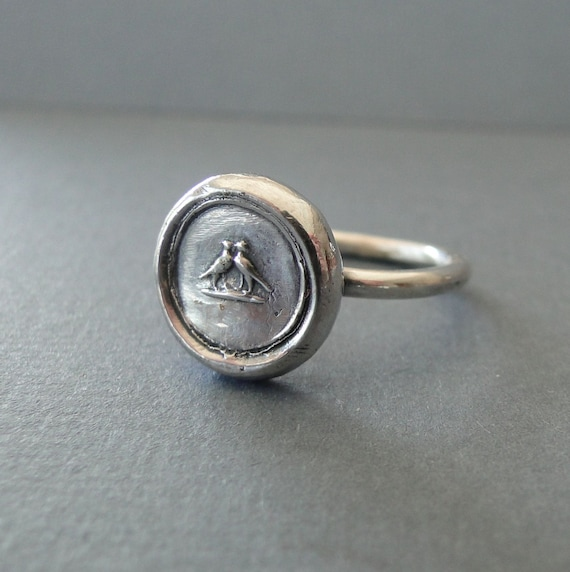 Love Birds ring,  wax seal jewelry, sterling silver, amulet