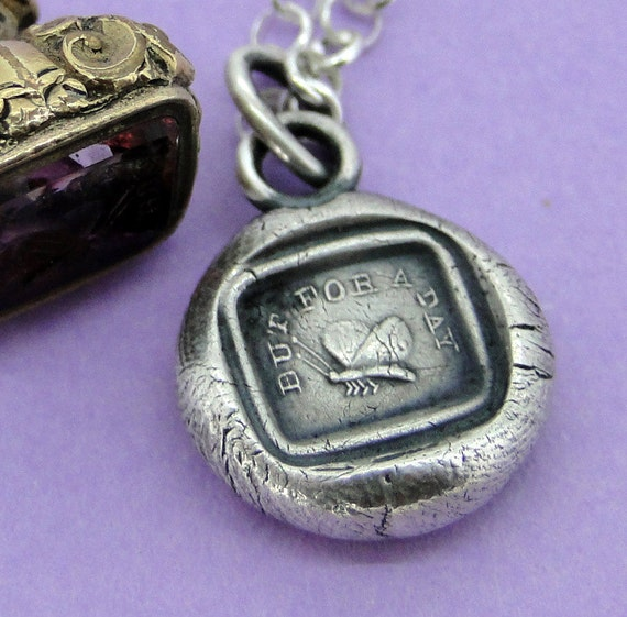 But for a day..... antique wax seal necklace, butterfly, time to shine, sterling silver antique impression