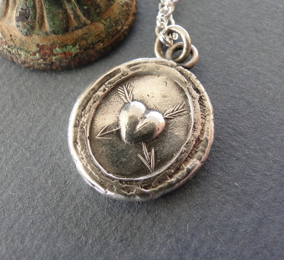 Lovestruck, sterling silver necklace, handmade pendant, valentines, heart, arrows, wax seal jewelry, antique impression, meaningful gift.