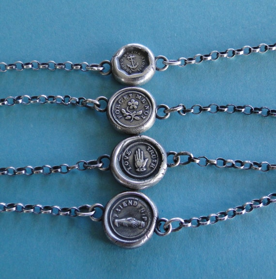 Bracelet, Antique Wax seal Amulet, bracelet, various sizes, sterling silver.