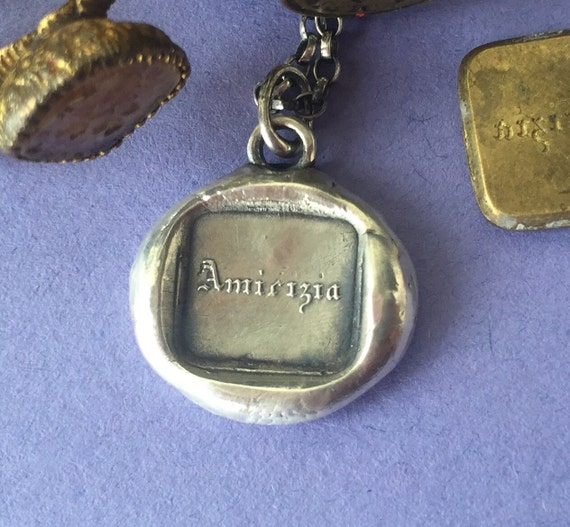 Amicizia..... Friendship... Antique wax letter seal jewellery. Sterling silver amulet.