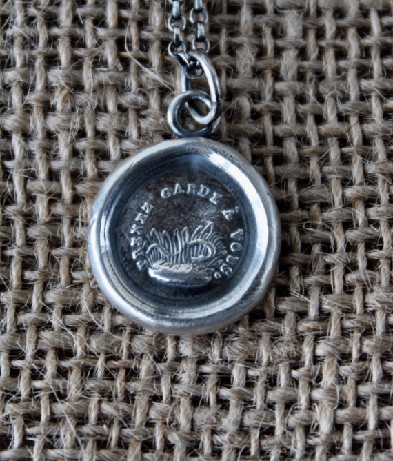 Take Care!  beware, mind yourself, guard against snakes in the grass.  Antique wax letter seal necklace.