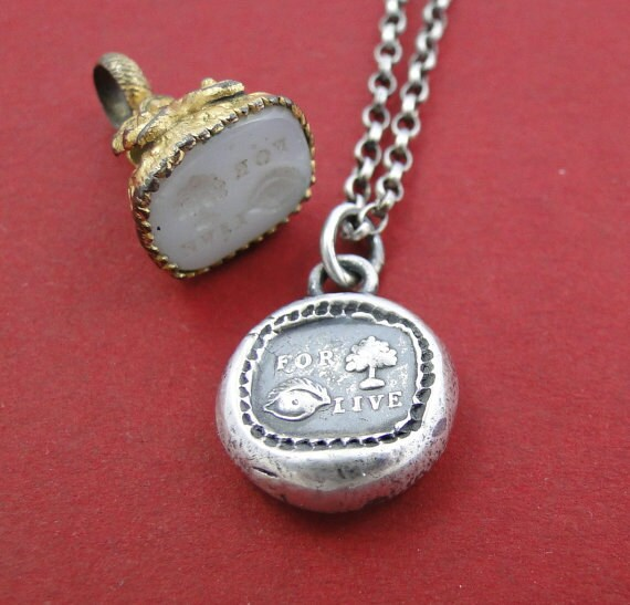 For you I live.......... wax seal, sterling silver, rebus puzzle, love pendant.
