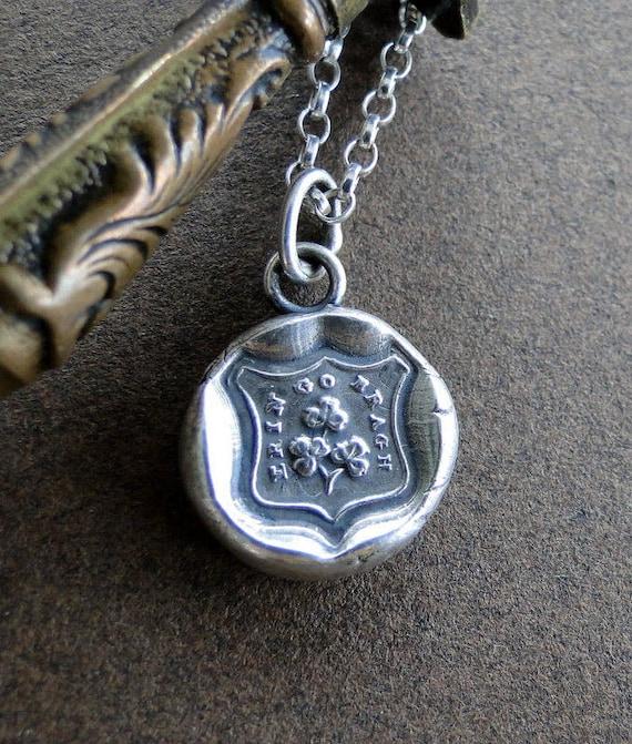Erin go bragh, Ireland Forever, shield shape.... wax seal stamp jewelry, Sterling silver, shamrock, Irish jewelry, old sod, ireland, lucky