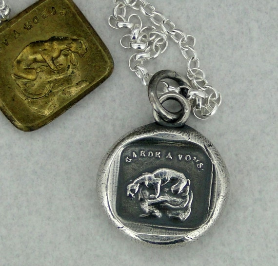 Protect you… Garde a vous, wax seal impression. Panther crouching, sterling silver
