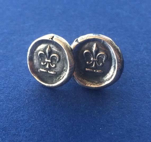 Fleur de Lis, antique wax seal stamp, Sterling silver stud earrings, small earrings, flower earrings, petite earrings, antique earrings,