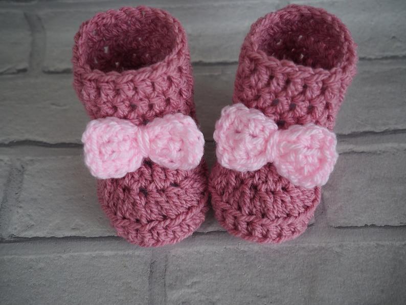 3394c2c3ea864 Crochet baby booties pink crochet booties baby boots baby | Etsy