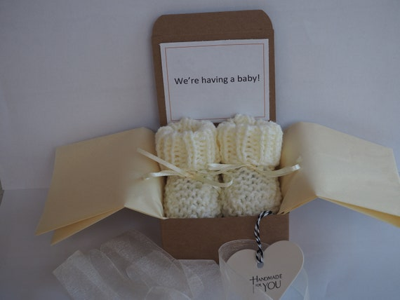 gender reveal box gender reveal gift gender reveal booties. baby shower pregnancy reveal to grandparents pregnancy announcement booties