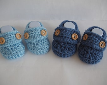 crochet baby loafers, baby boy blue booties, baby shower gift, crochet baby booties, baby shoes, baby booties, christening shoes, baby gift.