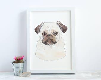 Pug   A4 Giclée Print