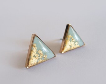 Large Mint & Gold Triangle Stud Earrings - Hypoallergenic Surgical Steel Posts