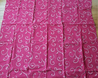 Vintage Vtg Red and Gold Swirls Mid-Century MCM Tablecloth