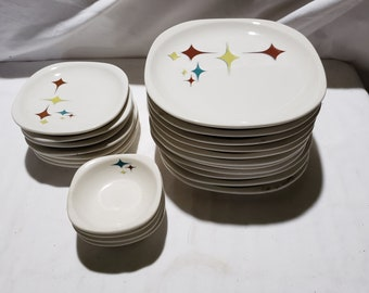 22 Pieces Syracuse China Atomic Trend Jubilee Starburst Railroad China