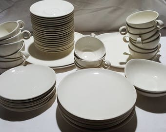 53 Pieces Ben Seibel Steubenville Raymor Contempora Sand White