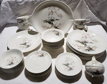 RARE 8 Place Settings+ Viktor Schreckengost Salem China Freeform Free Form Cherry Blossom Set