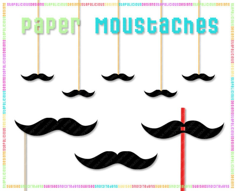 It is a graphic of Printable Moustaches with printable father's day