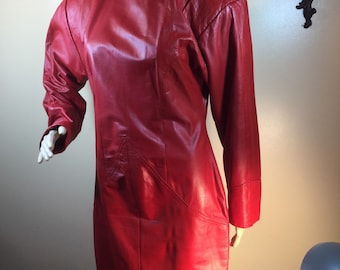 7e352672502 sale vtge 80s Red Leather dress