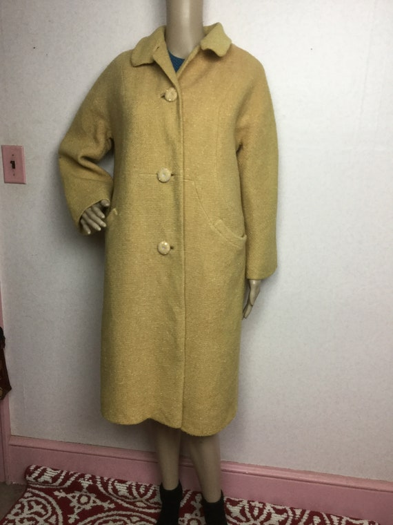 50s Oatmeal wool winter Coat ,1950s Vintage   Coat