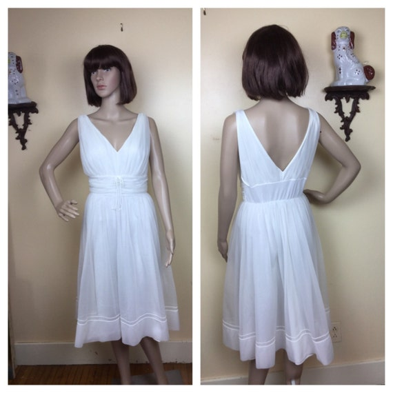 Vintage lingerie , 50s lingerie, sheer White Night