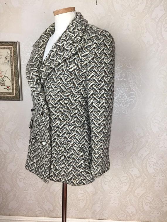 Vtge  50S Coat Brown Tweed , Double breasted  wool
