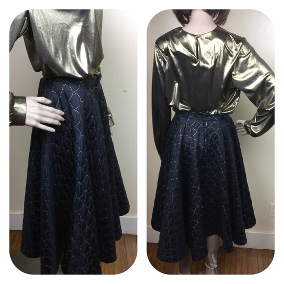 Vintage 50s Skirt  , Full Sweep Rockabilty Black G