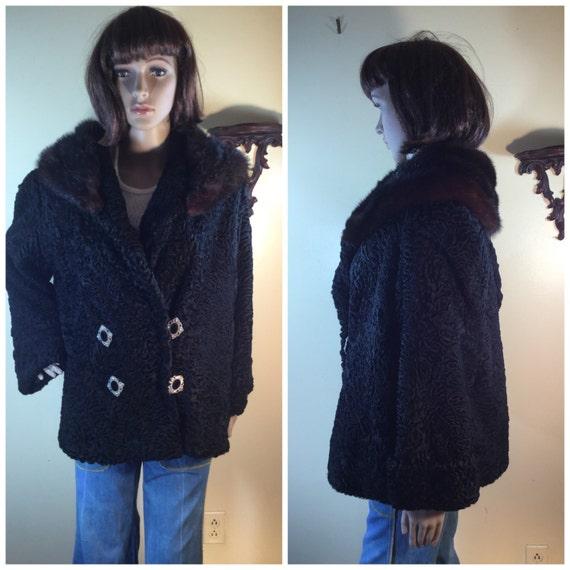 SALE vtge 40s Persian  Lamb Coat,  black curly lam