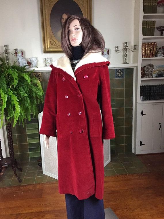 vintage 70s midi coat storm coat , Red Corduroy wi