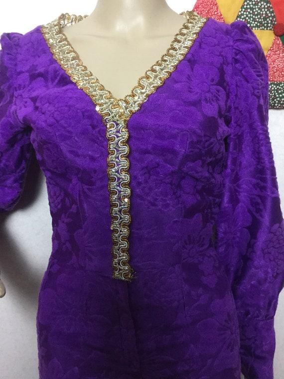 70s Purple Jumpsuit,Palazzo Jumpsuit , Gold Braid… - image 4