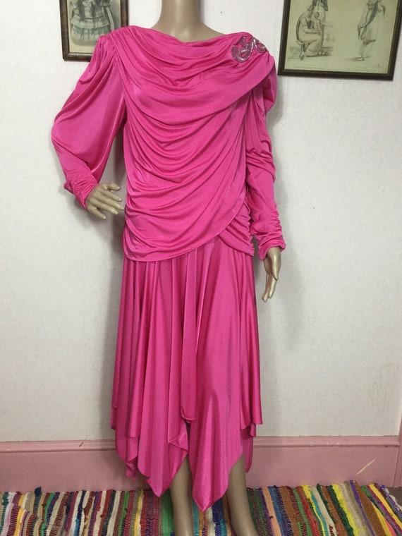 70s Hot Pink Disco Dress, embellishment , 80s Disc