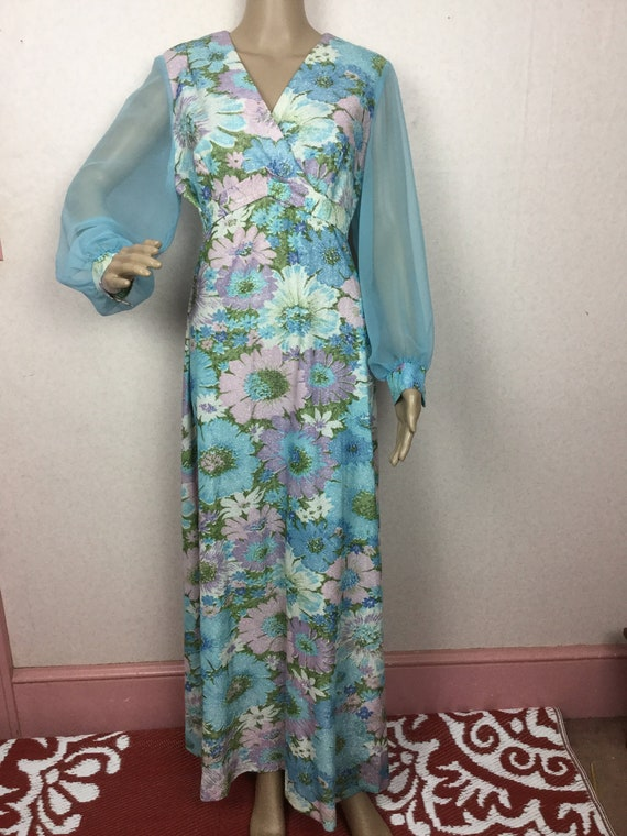 Sky Blue Floral Lame Gown,  chiffon sleeves & Lame