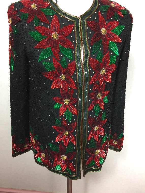 80s Beaded jacket , vintage cocktail poinsettia fl