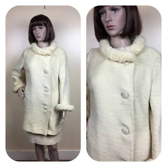 Vintage 60s Suit ,  poodle trim creamy ivory Wool
