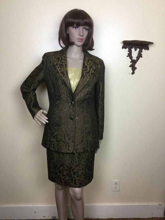 60s Brocade Suit , metallic Brocade Jacket & high… - image 3
