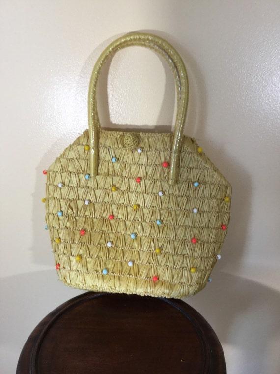 Vintage  50s Purse, 1950s purse , Woven Cellophane