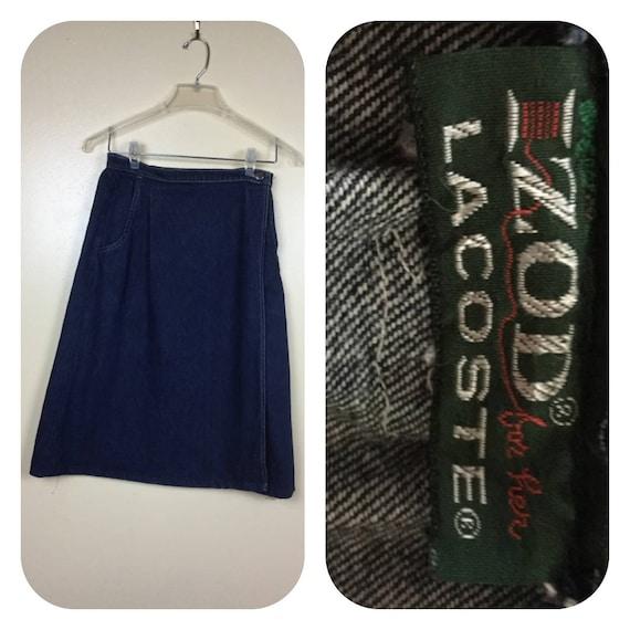 70s IZod Lacoste denim Wrap Skirt, Denim Skirt,70s