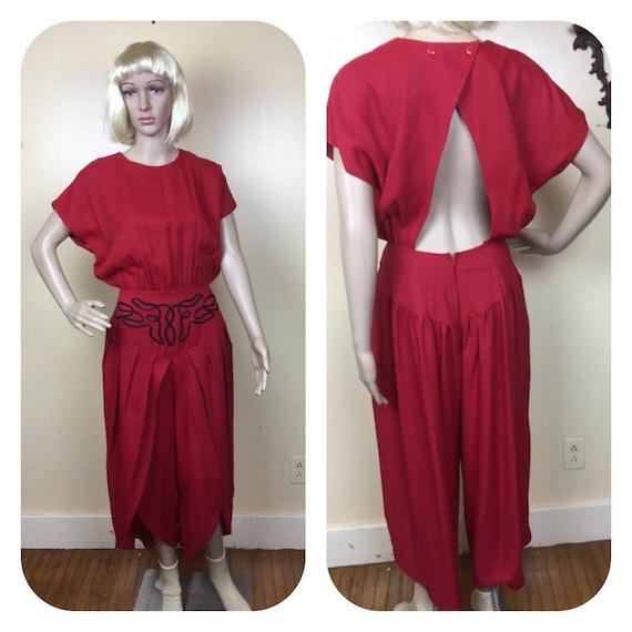 Red Jumpsuit , Keyhole Back , Harem Pants, Vintage