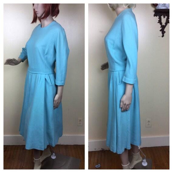 Vintage 50s Dress Sky blue  Wool Full Sweep Pleate