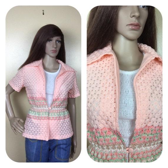 Vintage 70s puckered popcorn peachy shirt SM
