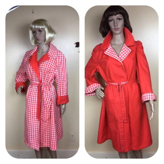 Red  Gingham raincoat, 70s Red Reversible Coat,  b